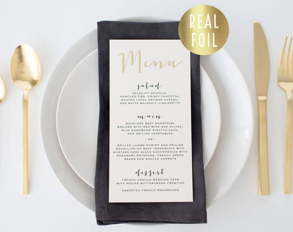 gold foil wedding menus  // gold foil / rose gold foil / silver foil / modern calligraphy custom luxe romantic wedding menu