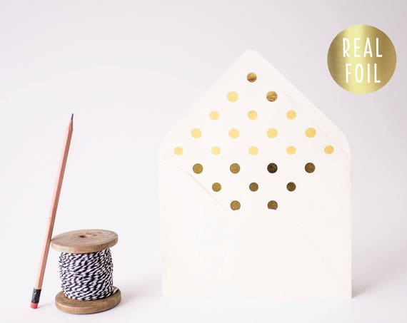 foil polka dot lined envelopes (sets of 10) // gold foil / rose gold foil / silver foil / modern envelope liners lined envelope
