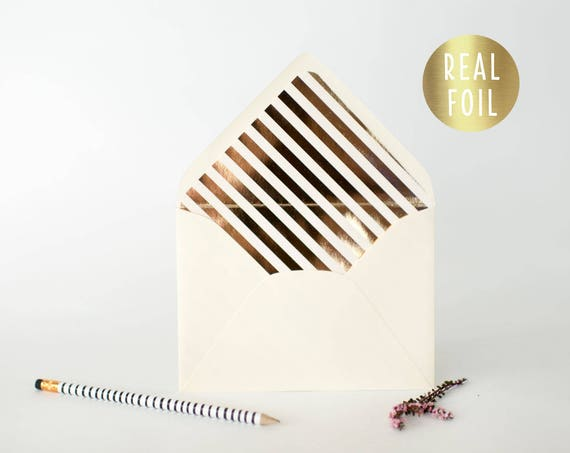 foil diagonal stripe lined envelopes (sets of 10) // gold foil / rose gold foil / silver foil / modern envelope liners lined envelope