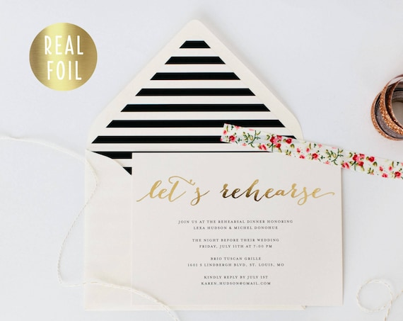 gold foil rehearsal dinner invitation (sets of 10) // gold foil black white stripes modern calligraphy custom luxe invite