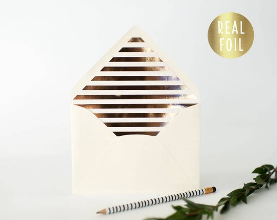 foil horizontal stripe lined envelopes (sets of 10)  // gold foil / rose gold foil / silver foil / modern envelope liners lined envelope