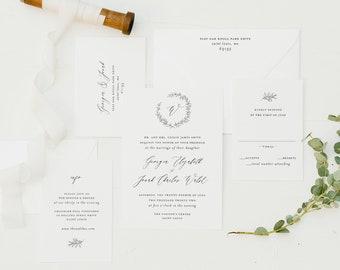 wedding invitation sample // minimalist / simple / wreath / monogram / letterpress / gold foil / custom / printed invitation /  invite