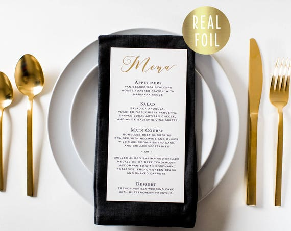 NEW!  millie gold foil wedding menus  // gold foil / rose gold foil / silver foil calligraphy romantic custom modern wedding menu