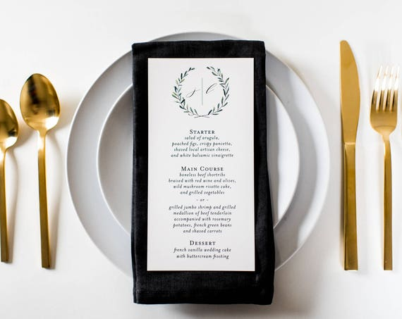 james greenery wedding menus (sets of 10)  // olive branch watercolor rustic eucalyptus greenery custom modern calligraphy wedding menu