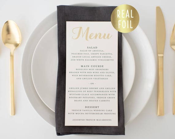 grace gold foil wedding menus  // gold foil / rose gold foil / silver foil calligraphy romantic custom modern wedding menu