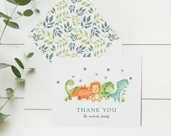 personalized dinosaur baby kids thank you cards / baby shower / dinosaurs / baby / kids / boy / girl / baby shower / gift