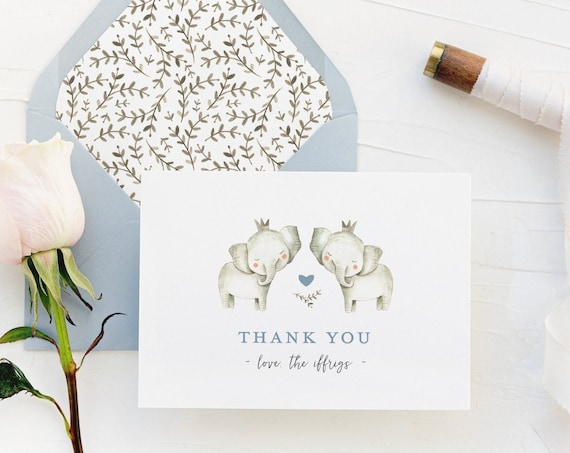 personalized elephant baby shower thank you cards // elephants / baby / kids / baby boy / baby girl / baby shower gift