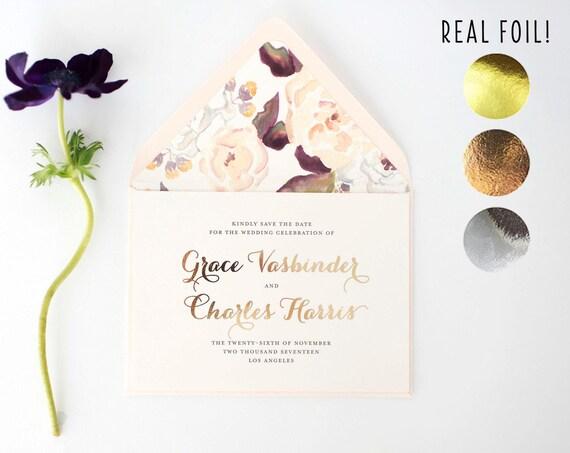 grace gold foil save the date invitations  //  rose gold foil silver foil blush watercolor floral calligraphy romantic custom modern invite