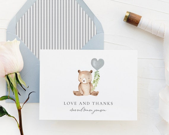 personalized bear baby shower thank you cards // dusty blue / bear / balloon / greenery / baby / kids / boy / girl / baby shower gift