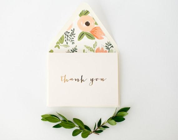 SALE! 50% OFF - foil pressed thank you cards / wedding thank you cards / gold foil rose gold foil silver foil / letterpress (sets of 10)