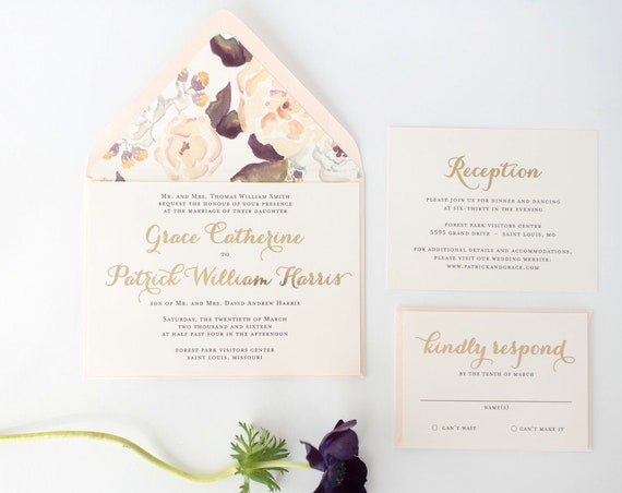 gold foil wedding invitation sample //  rose gold foil / silver foil / foil pressed / watercolor floral / calligraphy / custom / invite