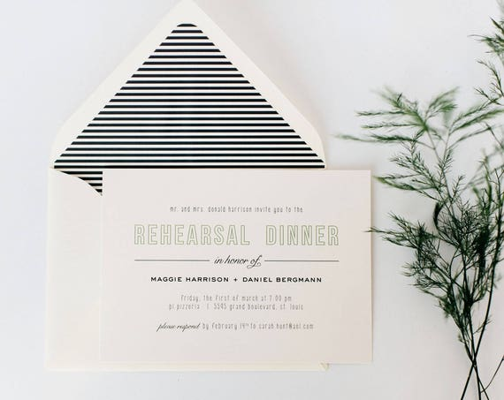 rehearsal dinner invitations (sets of 10)  // simple, modern classic custom invite