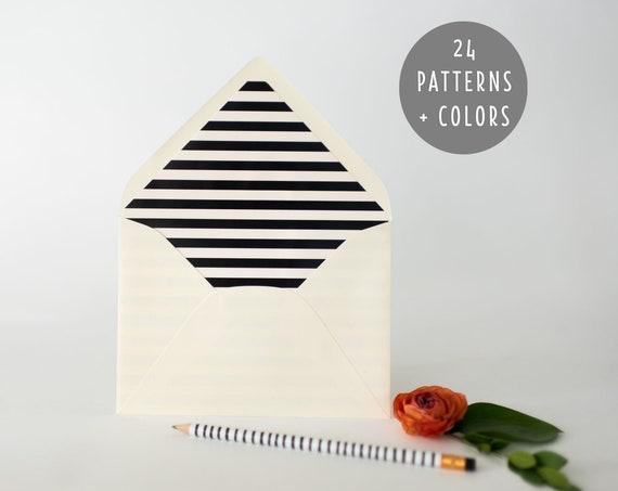 regular lined envelopes (24 patterns and colors)  // envelope liners / lined envelopes / wedding invitation / address printing / custom