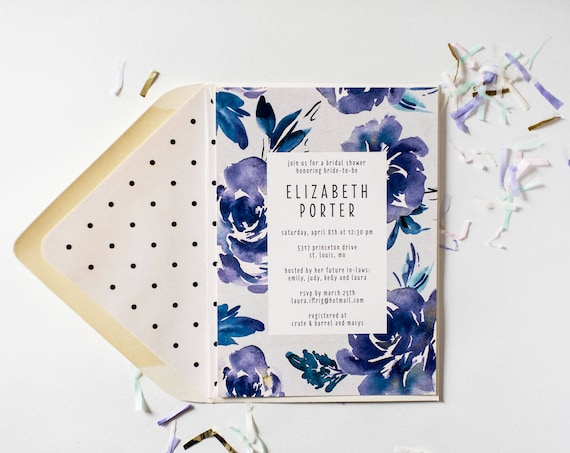 blue floral bridal shower / baby shower invitation  - customizable (sets of 10)  //  watercolor floral gold foil blue shower invite
