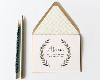 bridesmaid proposal card / bridesmaid thank you card // will you be my bridesmaid card / personalized / greenery / bridal party card