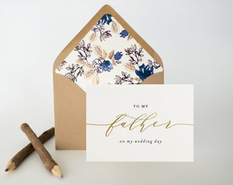 to my father on my wedding day card / to my dad on my wedding day card / father in law / gold foil / silver foil / wedding day card