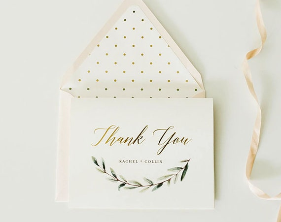 SALE! 50% OFF personalized foil pressed thank you cards / greenery / wedding thank you cards / gold foil / letterpress (sets of 10)