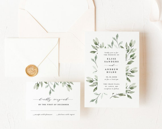wedding invitation sample // watercolor greenery / frame / eucalyptus / letterpress / calligraphy / custom / blush / printed /  invite