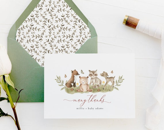 personalized woodland animals baby kids thank you cards / fox / deer / bear / raccoon / baby / kids / boy / girl / baby shower / gift