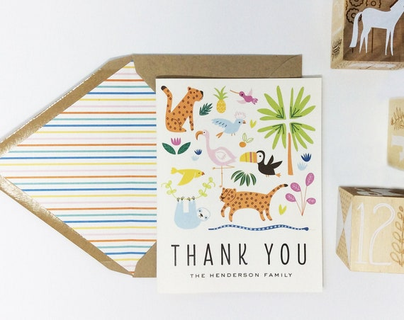personalized baby shower thank you cards (sets of 10) // animals / jungle / zoo / baby boy / baby girl / baby shower gift