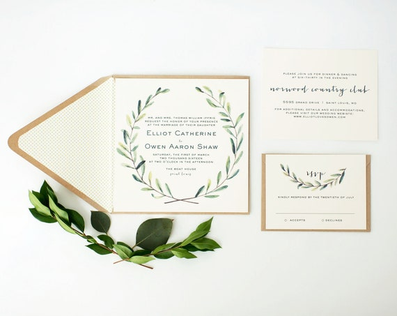 elliot greenery wedding invitation sample // green leaves watercolor rustic eucalyptus custom modern calligraphy invite printed invitation
