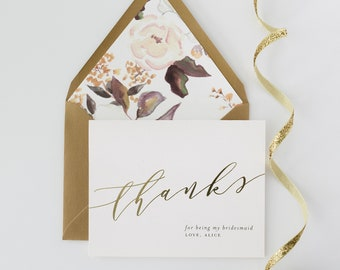 thank you for being my bridesmaid card / bridesmaid thank you card / personalized / foil pressed / gold foil / rose gold foil / silver foil