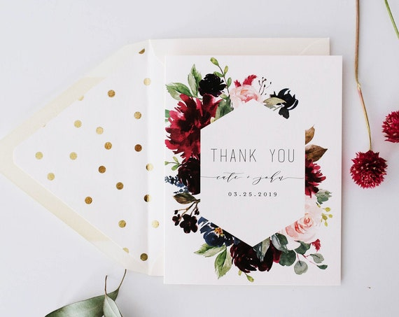 burgundy floral wedding thank you cards // personalized thank you cards / card set / stationery / blush gold foil isabella (sets of 10)