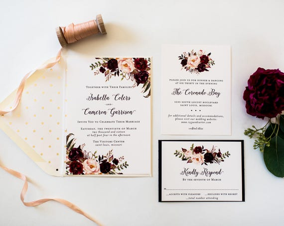 burgundy floral wedding invitation sample //  watercolor floral fall autumn gold foil calligraphy custom romantic invite printed invitation