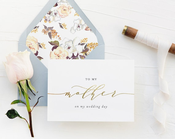 to my mother on my wedding day card / to my mom on my wedding day card / mother in law / gold foil / rose gold / silver / wedding day card