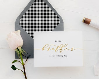to my brother on my wedding day card / brother-in-law / gold foil / personalized / wedding day card