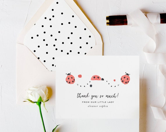 personalized baby shower thank you cards // lady bug baby shower thanks cards / gender neutral cards /  baby boy baby girl lined envelope