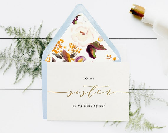 to my sister on my wedding day card / sister in law / gold foil / rose gold / silver / wedding day card