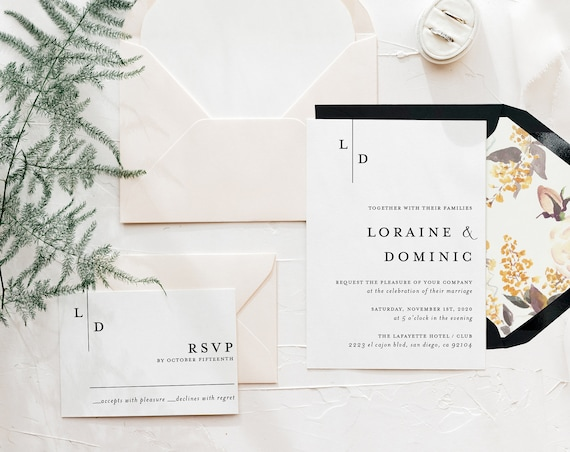 wedding invitation sample / minimalist / black white / simple / modern / floral / monogram / custom / minimal / printed invitation /  invite