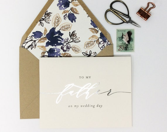 to my father on my wedding day card / to my dad on my wedding day card / gold foil / silver foil / wedding day card / father in law