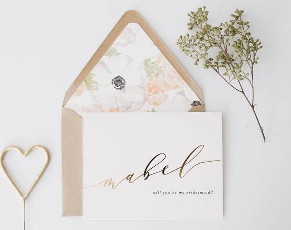 will you be my bridesmaid card / bridesmaid proposal box / maid of honor / personalized /  gold foil / rose gold foil / bridal party