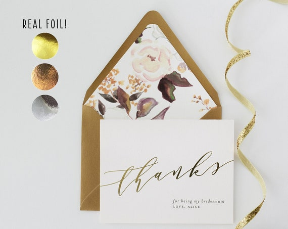 personalized foil pressed thank you for being my bridesmaid card / bridesmaid thank you card / gold foil / rose gold foil / silver foil