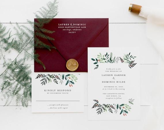 winter wedding invitation sample // watercolor / pines / christmas / wedding / botanical / greenery / berries /  invite / custom / printed