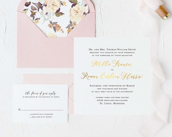 foil pressed wedding invitation sample set / gold foil / rose gold foil / silver foil / letterpress modern simple custom calligraphy invite