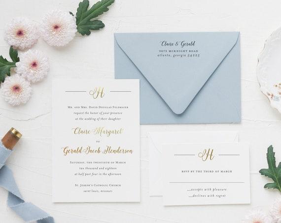 foil pressed monogram wedding invitation sample // gold foil rose gold foil custom calligraphy invite letterpress