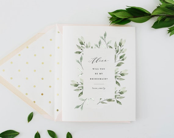 bridesmaid proposal card / will you be my bridesmaid card / personalized / eucalyptus / greenery / floral / bridal party / maid of honor