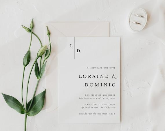 save the date invitations / minimalist / black white / simple / modern / monogram / initials / custom / minimal / printed / invite