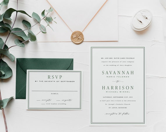 wedding invitation sample / minimalist / simple / modern / border / monogram / custom / minimal / printed invitation /  invite
