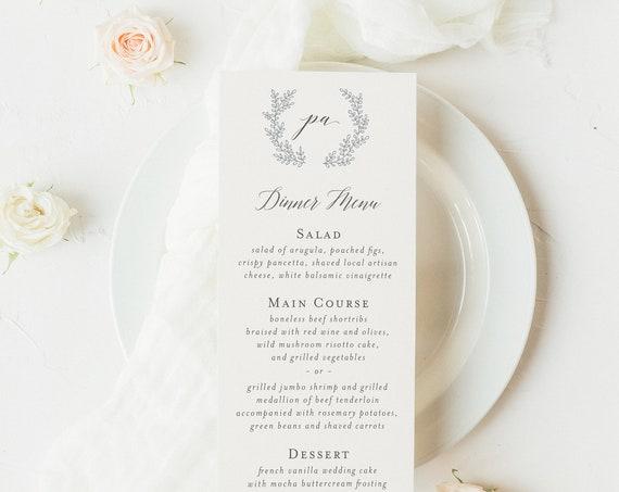 printed wedding dinner menus  (set of 10) // grey / calligraphy / wreath / laurel / monogram / initials / custom / calligraphy