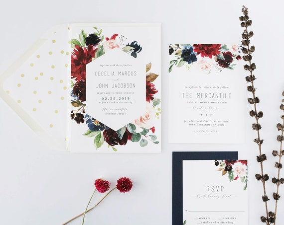 cecelia burgundy floral wedding invitation sample //  watercolor gold foil calligraphy custom romantic invite printed invitation
