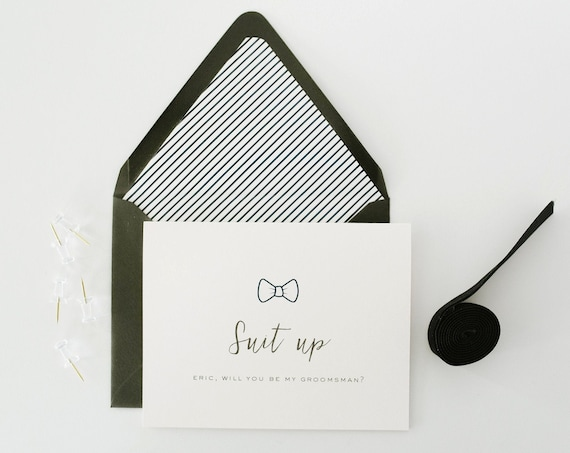 will you be my groomsman card / groomsman proposal card / best man / usher / ring bearer / man of honor / groomsmen / suit up / bow tie