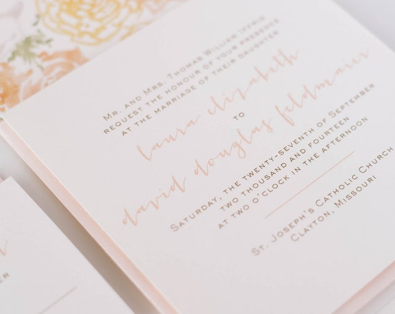 laura wedding invitation sample // printed invitation / simple rustic watercolor floral peach blush gold custom romantic calligraphy invite