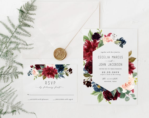 burgundy floral wedding invitation sample //  watercolor gold foil calligraphy custom romantic invite printed invitation
