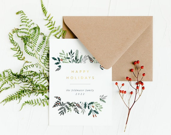 personalized christmas cards / holiday cards set / corporate cards / gold foil // non photo holiday christmas corporate cards / set of 10