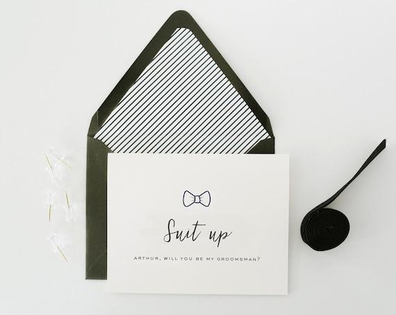 will you be my groomsman card / groomsman proposal card / best man / usher / ring bearer / man of honor / groomsmen / suit up / bow tie