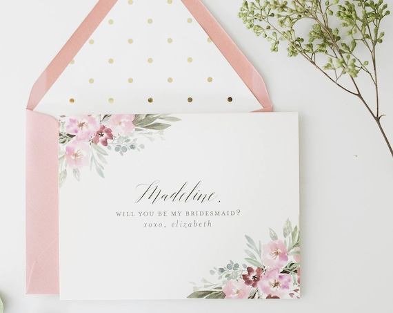 bridesmaid proposal card / will you be my bridesmaid card / personalized / dusty rose floral / bridal party card / maid of honor